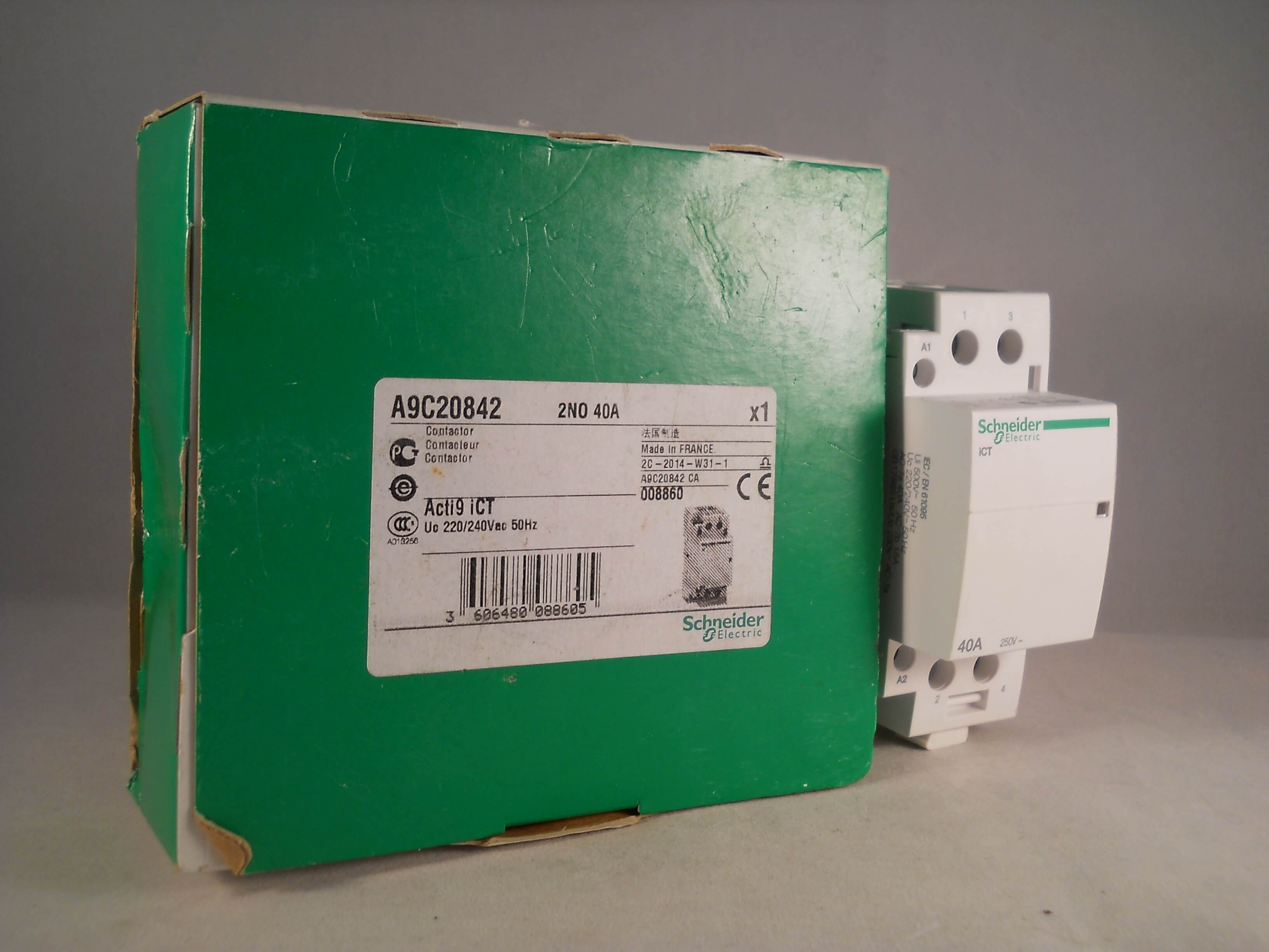 schneider ict 25a contactor wiring diagram tele 40 amp 2 pole 240vac coil n o acti 9