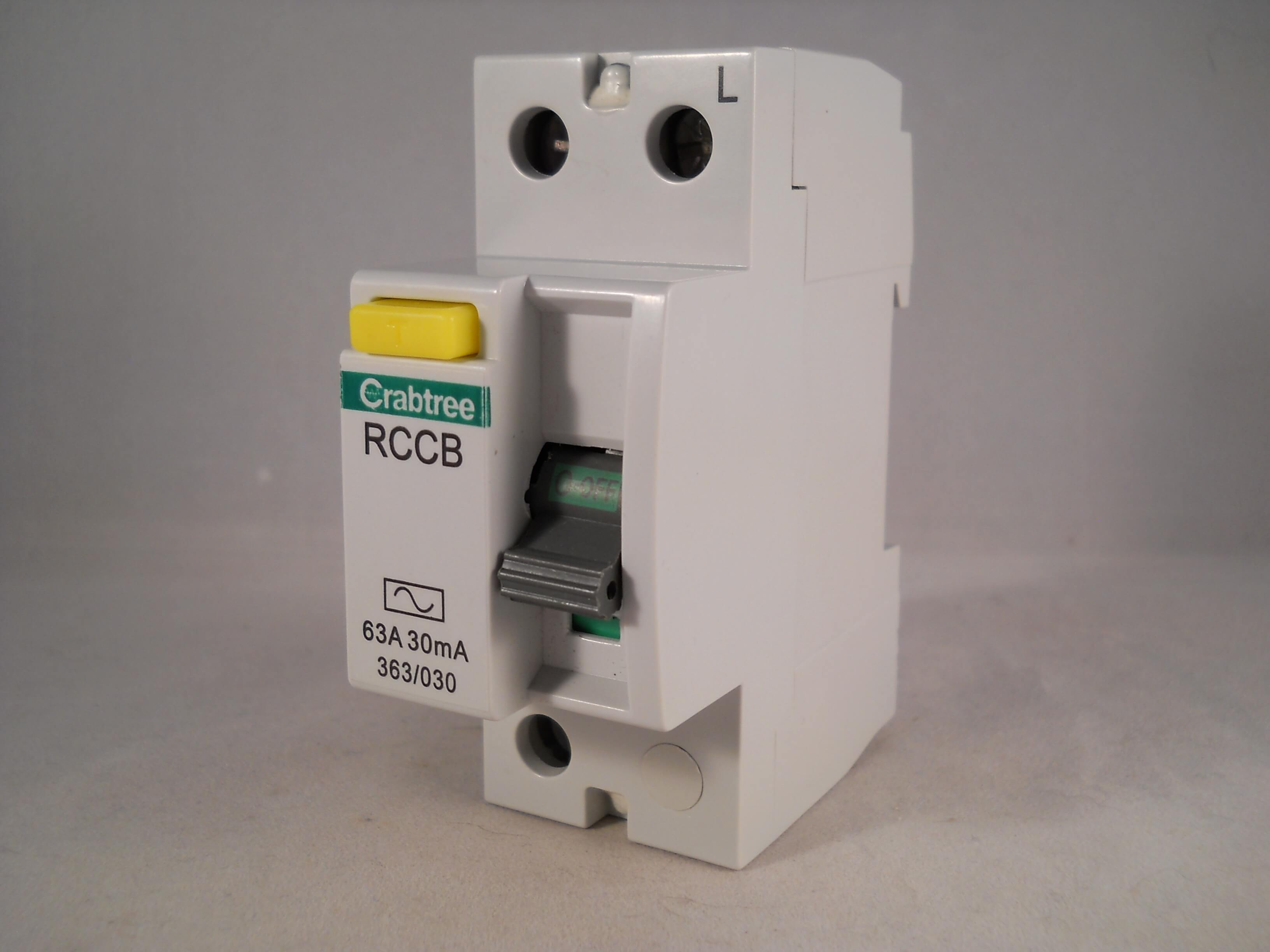 rcbo wiring diagram car battery crabtree starbreaker rccb 63 amp 30ma 2 pole rcd 63a 363