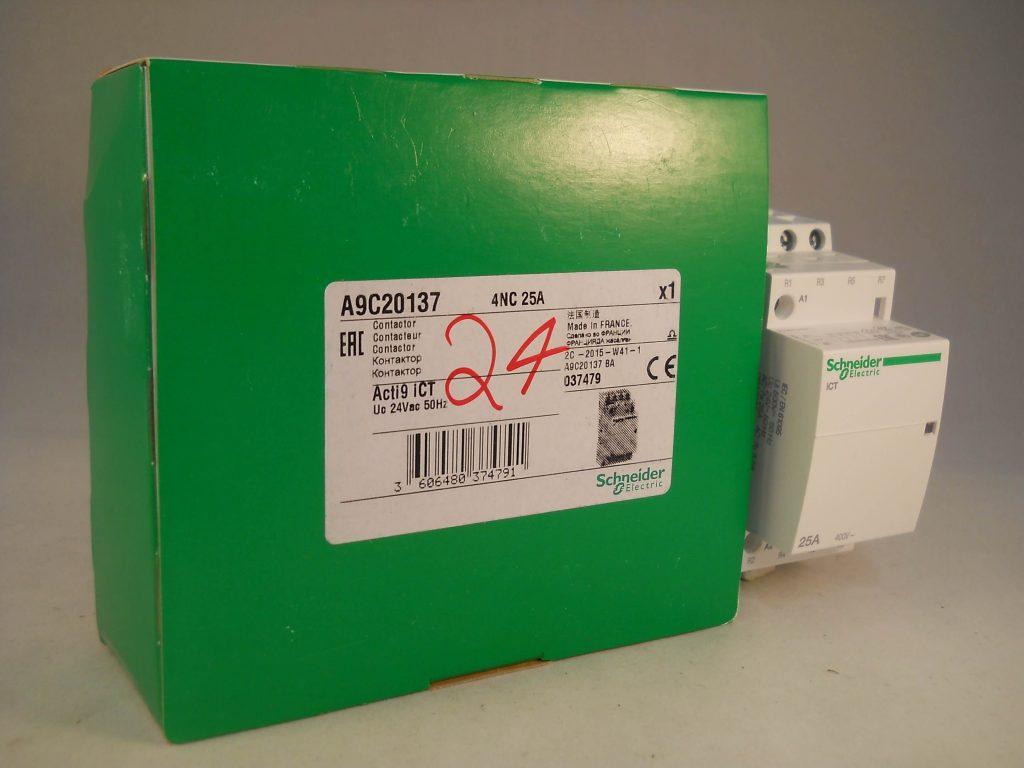 schneider ict 25a contactor wiring diagram 2002 chevy silverado 2500hd stereo 25 amp 4 pole 24vac coil n c acti 9