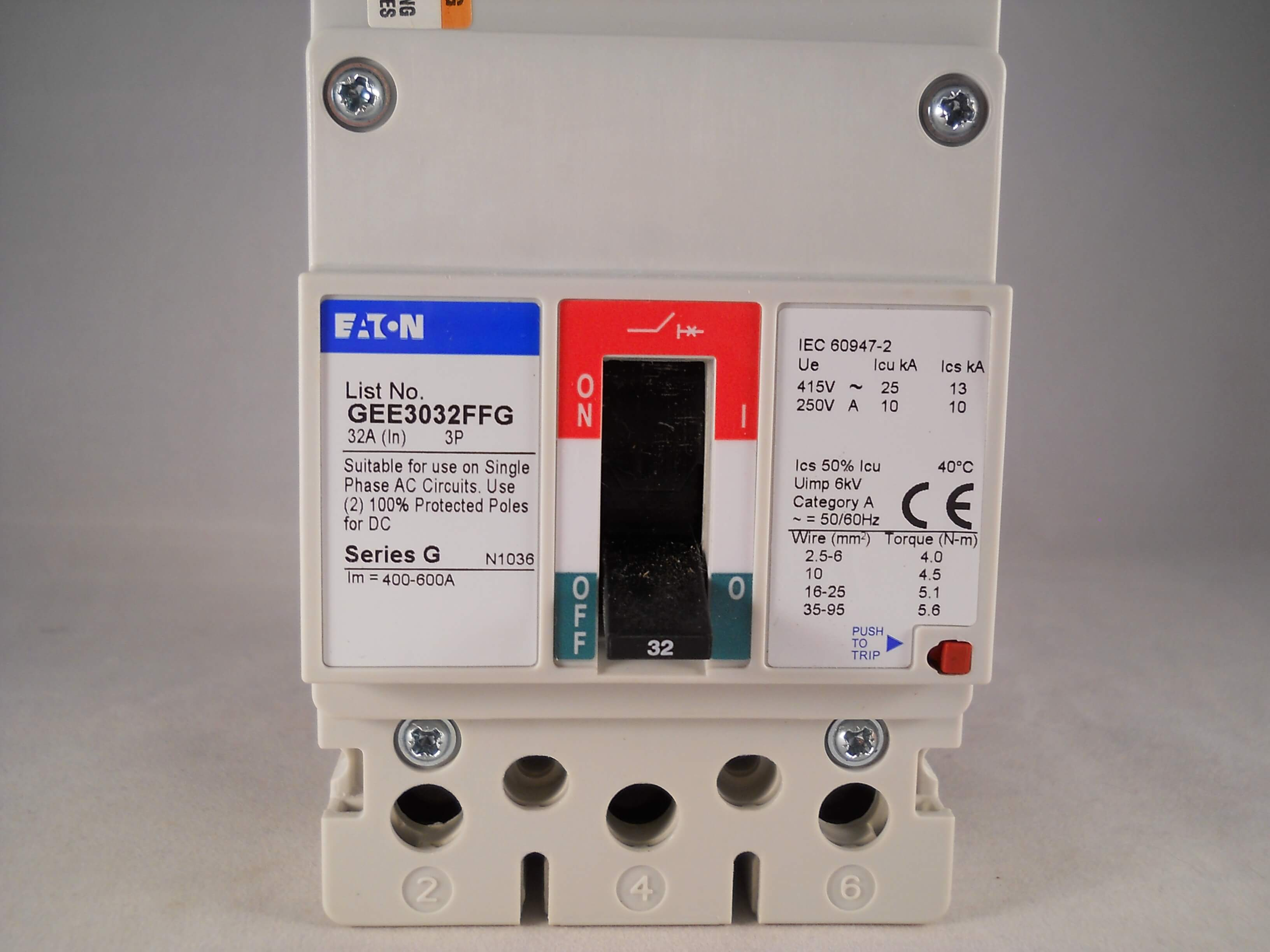 Hager Mcb 32 Amp Triple Pole 3 Phase Circuit Breaker Type C 32a 463332