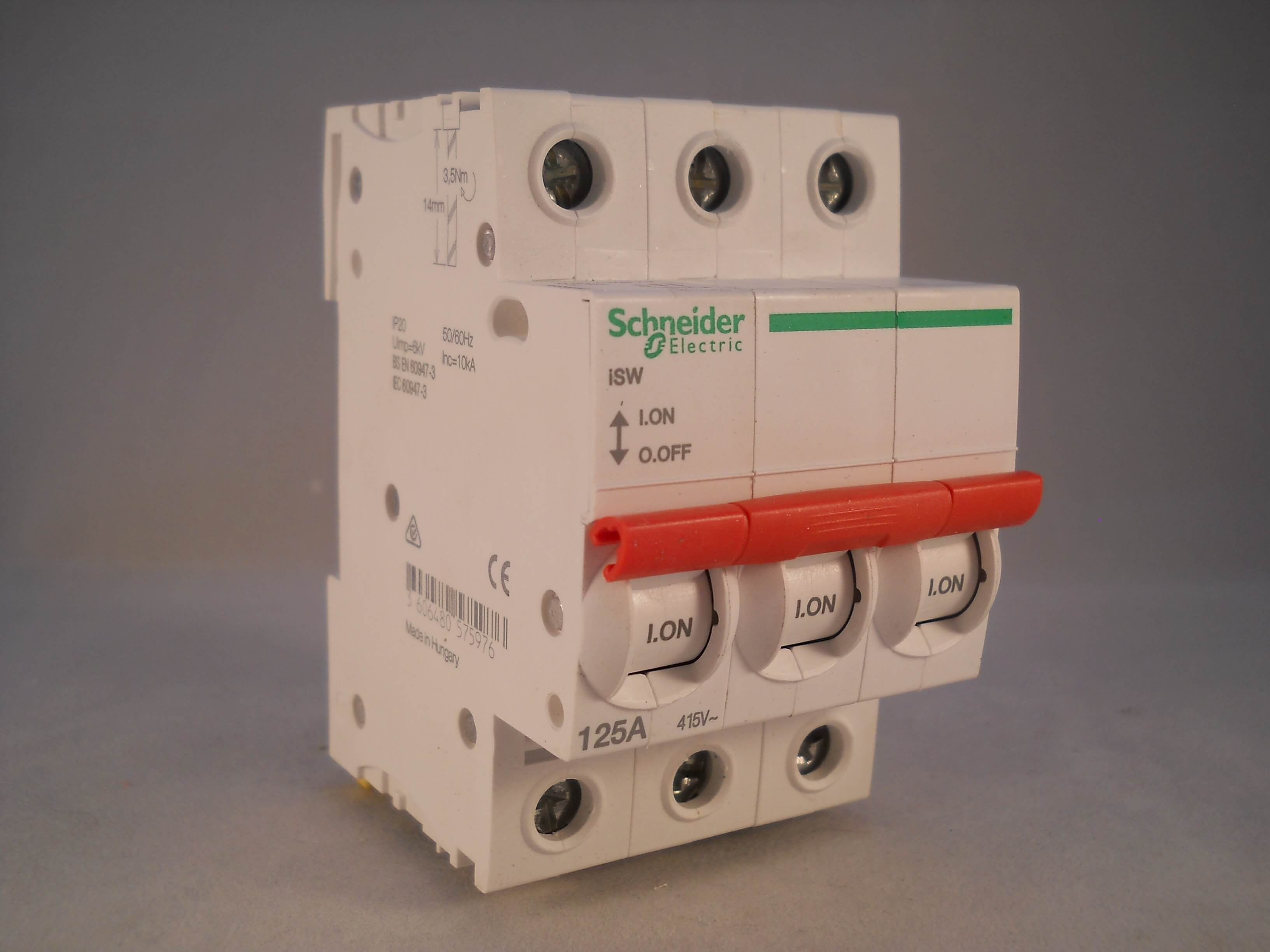 Schneider Main Switch 125 Amp Acti9 Isolator Triple Pole & N 125A SEA91253N NEW - Willrose Electrical - Discontinued & Obsolete Circuit Breakers