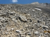On the summit ridge. The worn trail to the false summit