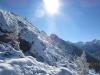Looking up Porcupine Ridge