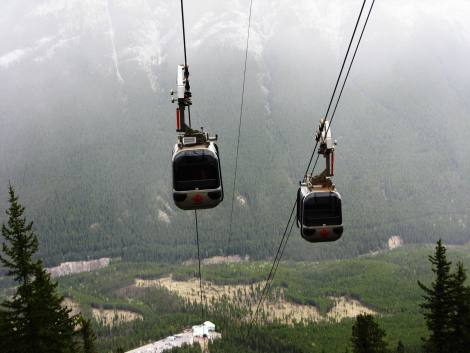 View of the Gondola Cars coming up & down