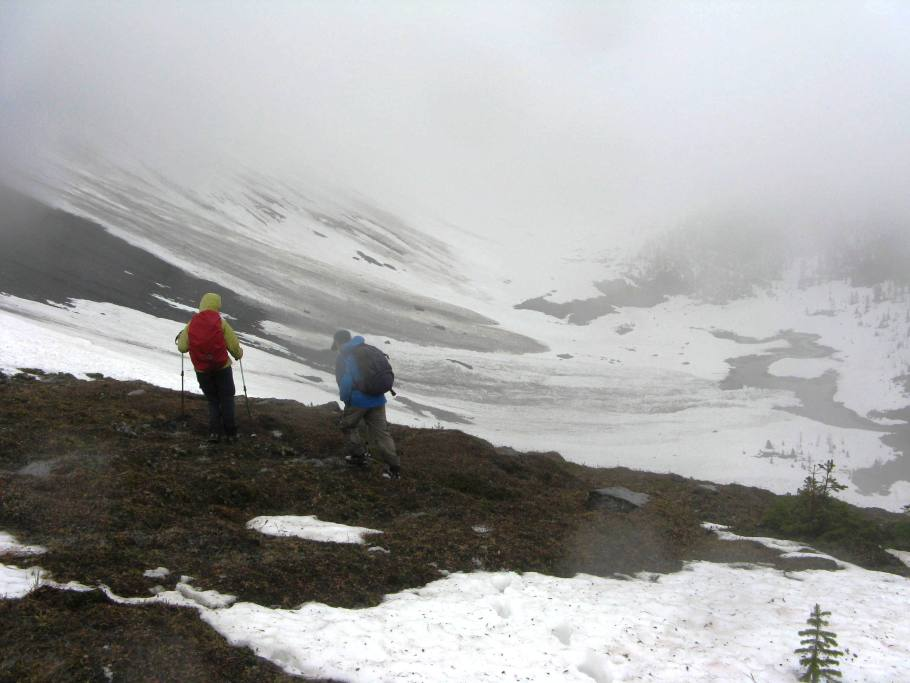 The basin ahead which we need to walk through with a large avalanche in the center