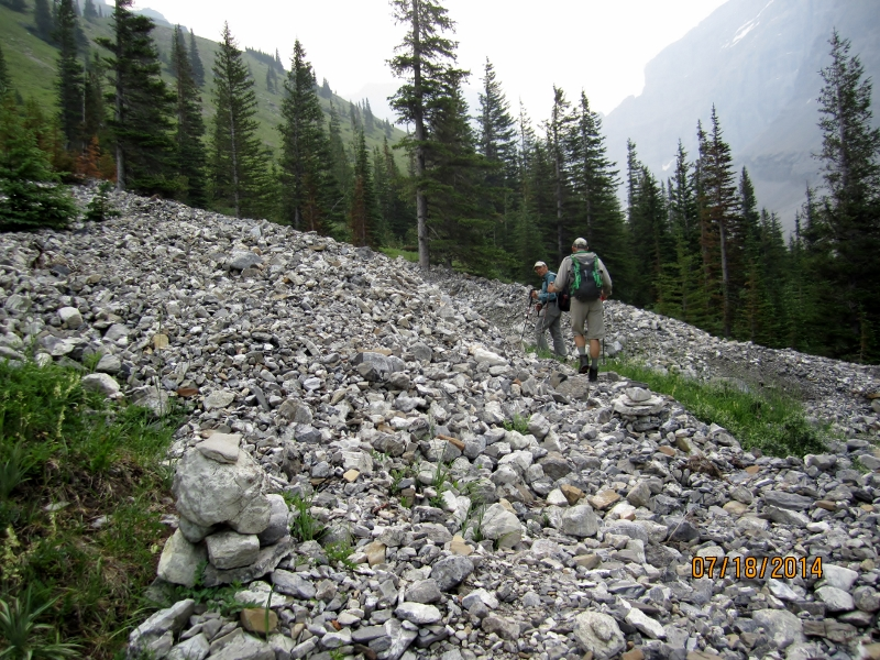 Crossing the washed out creek 1Hr from trail head