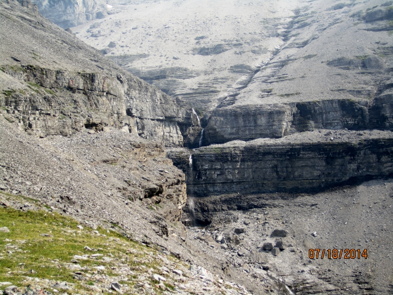 Waterfall from melting snow on Lougheed