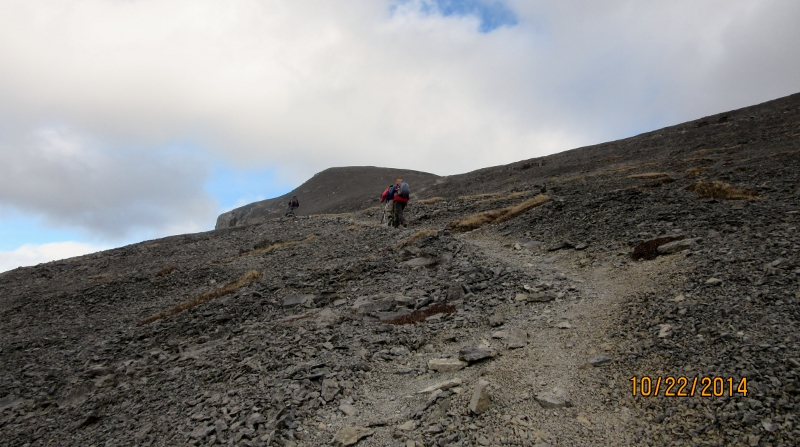 No more scrambling just the easy slog to the summit