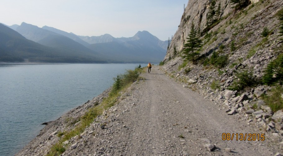 Biking along Spray Lakes West Side Road to Mt Nestor