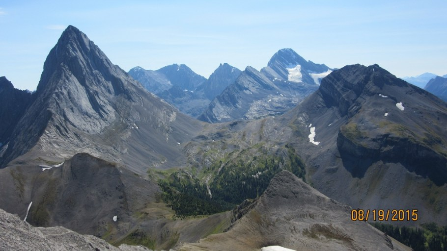 Mt Birdwood Lft Robertson with glacier. Burstall Passover ridge center