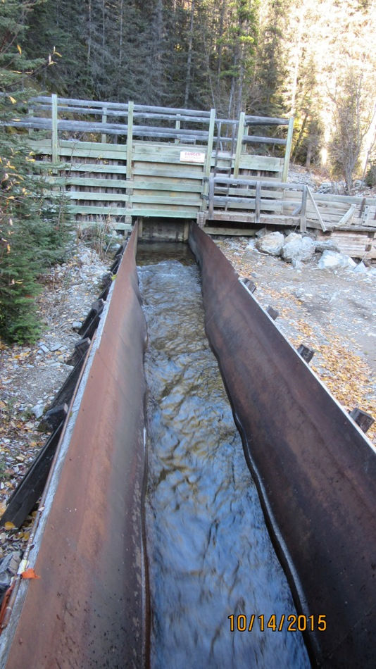 Water flows in this section before dropping out into creek -