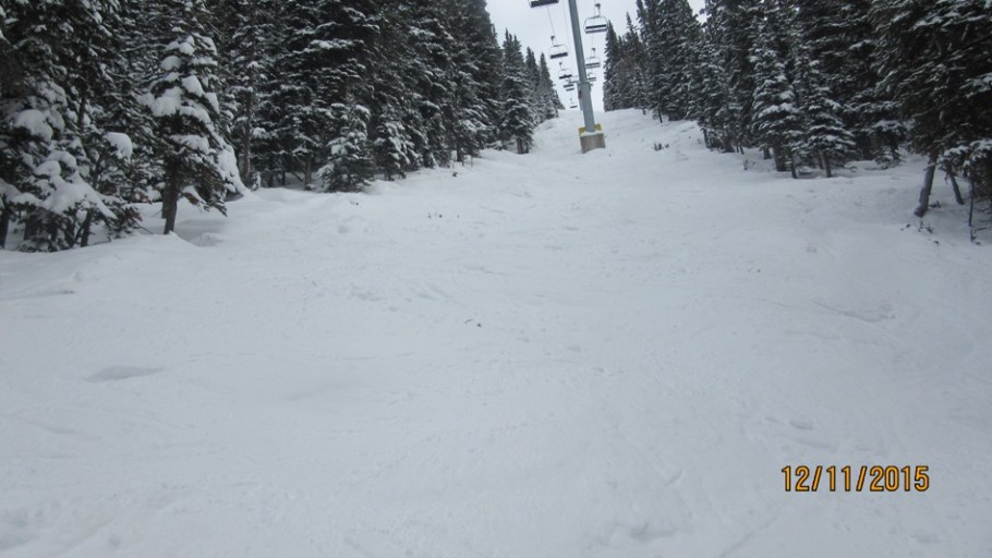 Skiing down Super Model under the Goats Eye chair