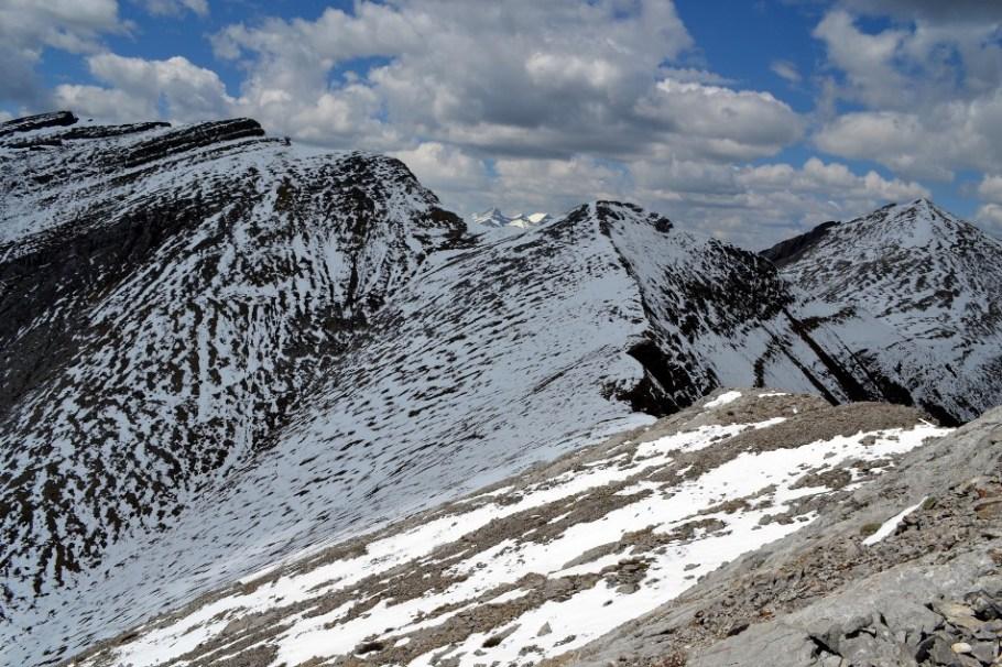 Looking along ridge towards Belmore Brown and Lougheed
