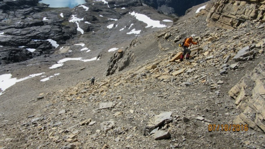 Coming up to the snow patch in the Scree Gully