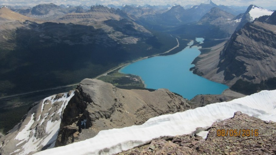 Bow lake from the summit