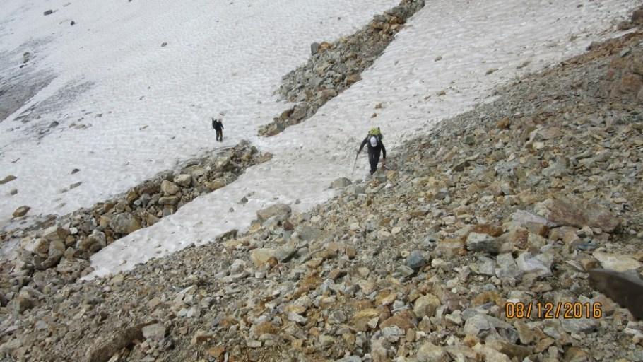 Glacial snow was soft easy to kick steps
