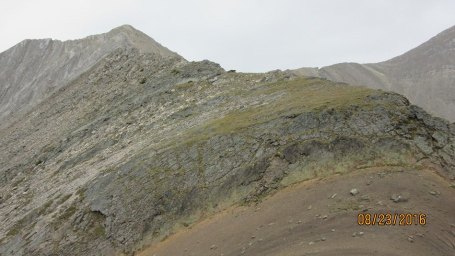 The col or saddle in the foreground with the section to the Peak