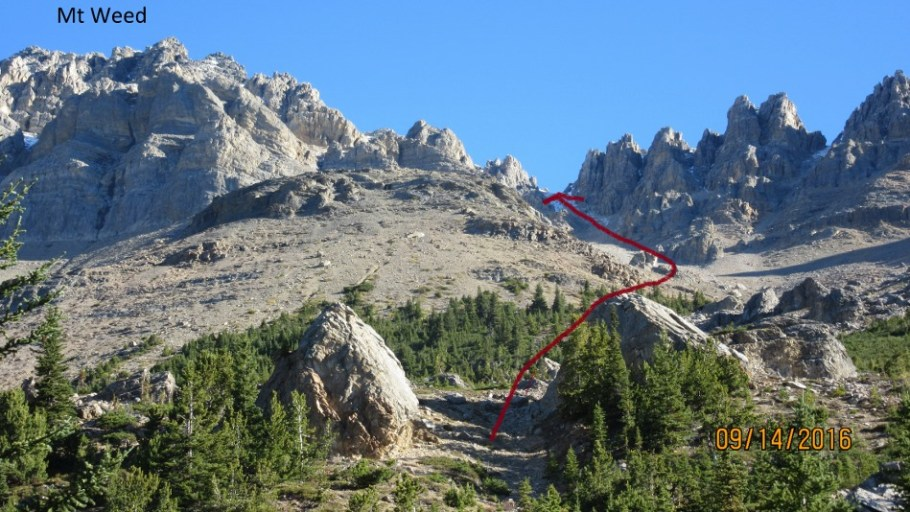 Center top the scree gully