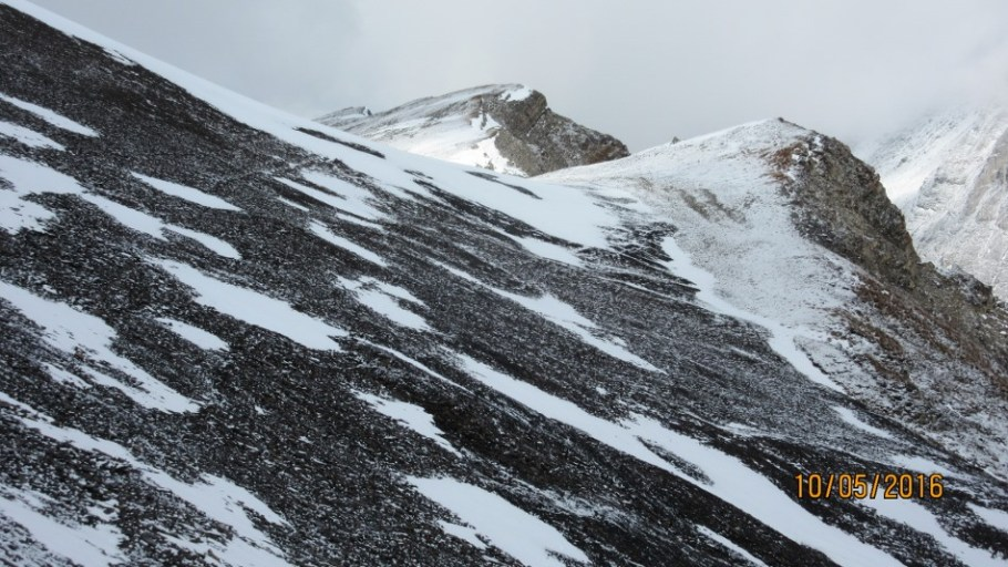 Turning the corner after the scree cone