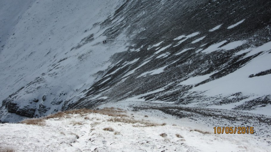 The way back down the scree cone