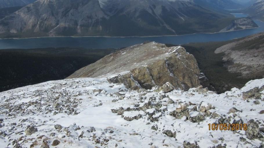 A view down Red Ridge to Spray Lakes