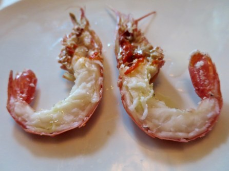 Course 2 Substitution: Salt-Roasted Spot Prawns, carved tableside, lemon, olive oil