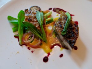 Course 6: Wild French Rouget, turnip, hibiscus, Indonesian spices