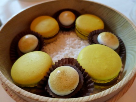 Mignardises - Macarons & Mexican Choclate Cups. Raspberry Pate not pictured.