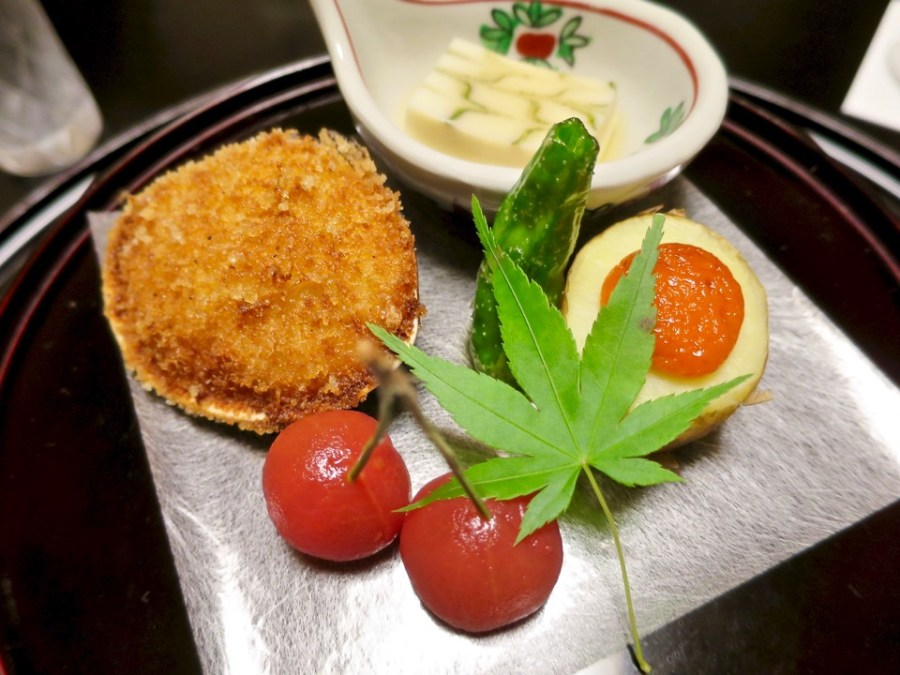 Appetizers - Stuffed clam, tofu, uni on potato, blanched cherry tomato
