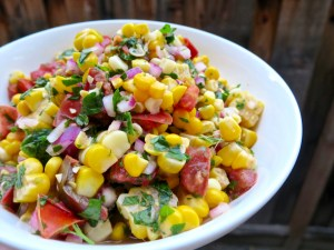 Sweet Corn Salad with Tomato, Parsley, and Mint