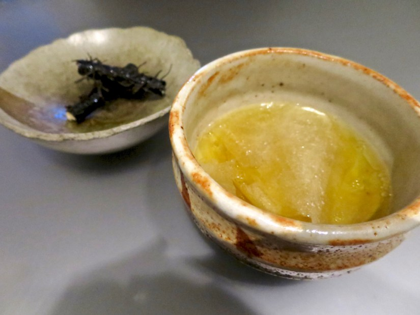 #2 - Crunch/Paper - shio kombu, nori w/ broth of scallop sheets, corn, butter