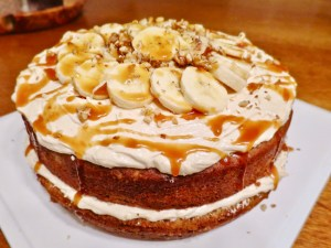 Banana Cake with Salted Caramel Cream Cheese Buttercream Frosting