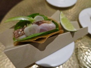 #4 horse mackerel mini taco, cherry