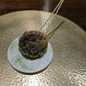 #7 Korean blood sausage, green onion powder - Benu, SF, Oct 2016