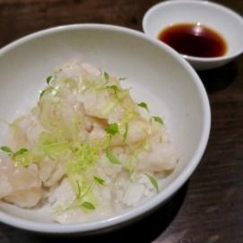 #14 frog's leg velvet with shiga rice, yellow chive, celtuce
