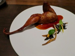 #16 smoked quail, lilies, black trumpet, fermented pepper