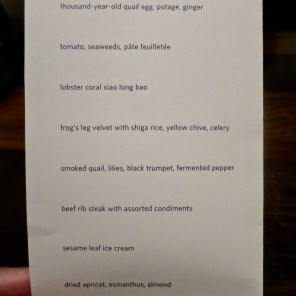 Menu 10/1/16 - Benu, SF, Oct 2016