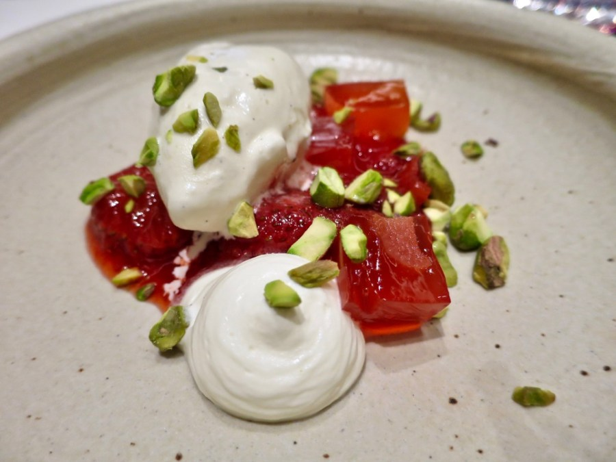 Vanilla ice cream, strawberry, pistachio