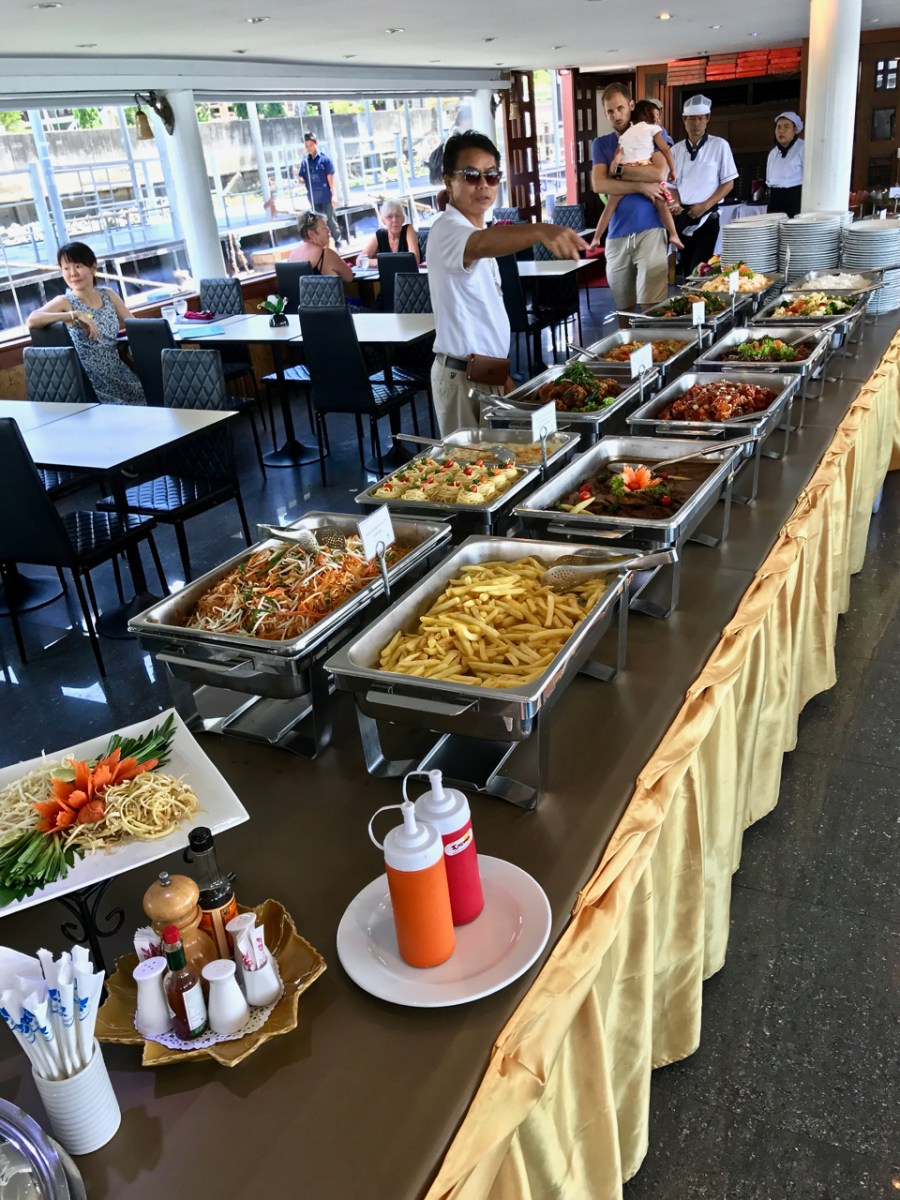 Buffet selection on the afternoon cruise back to Bangkok. And a candid of our fun tour guide!