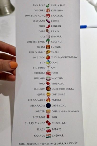Gaggan - menu given at end of meal