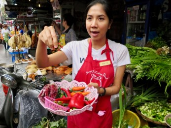 Irin showing us various chilies