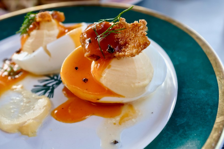 Turkey and the Wolf - Deviled egg with fried chicken skin