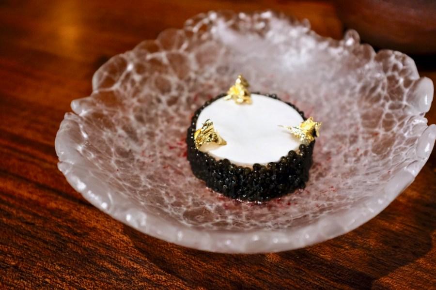 Atelier Crenn - Monkfish liver torchon, white sturgeon caviar, creme fraiche disc