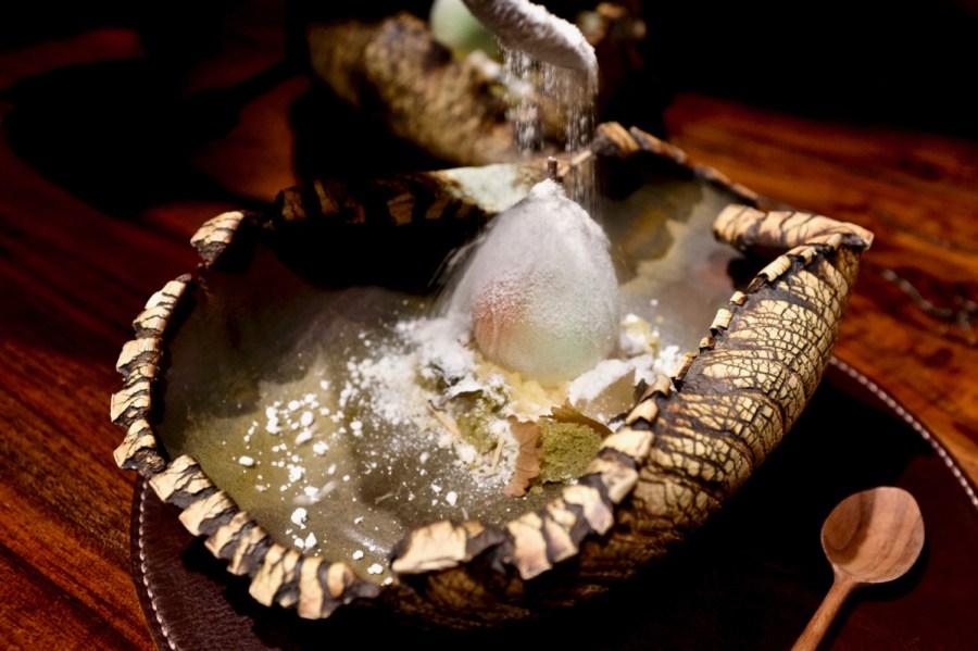 Atelier Crenn - Pear sorbet, sage, yogurt, citrus