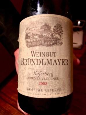 Atelier Crenn - 2008 Weingut Bründlmayer Grüner Veltliner Käferberg