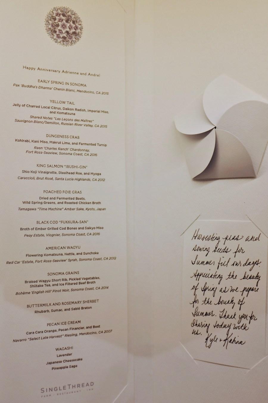 Dinner and Drinks Pairing Menu, April 2018