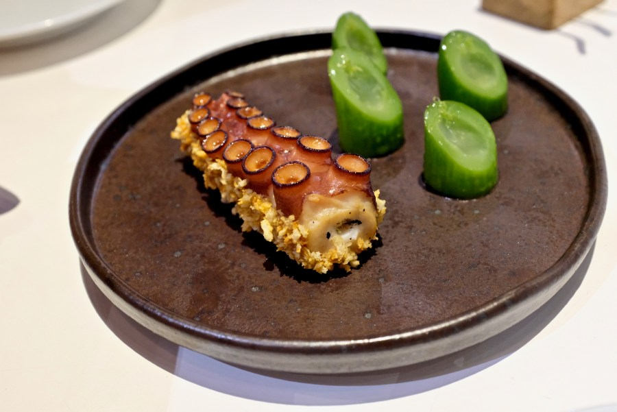 Tickets - Crunchy Octopus, panko, kimchi mayonnaise, Tickets' cucumber