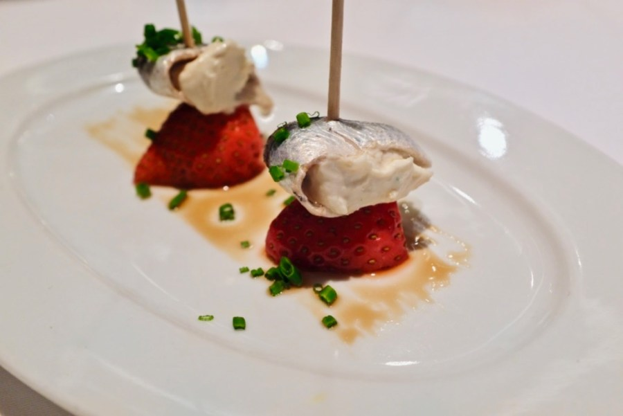 Arzak - Marinated anchovy and strawberry, cream cheese