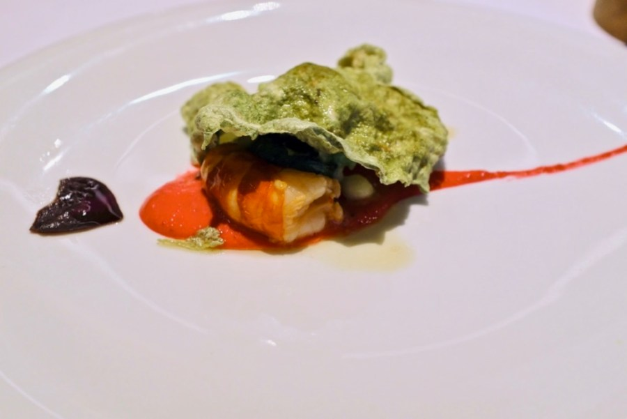 Arzak - Scarlet Prawn with krill, lemongrass, mint, beetroot