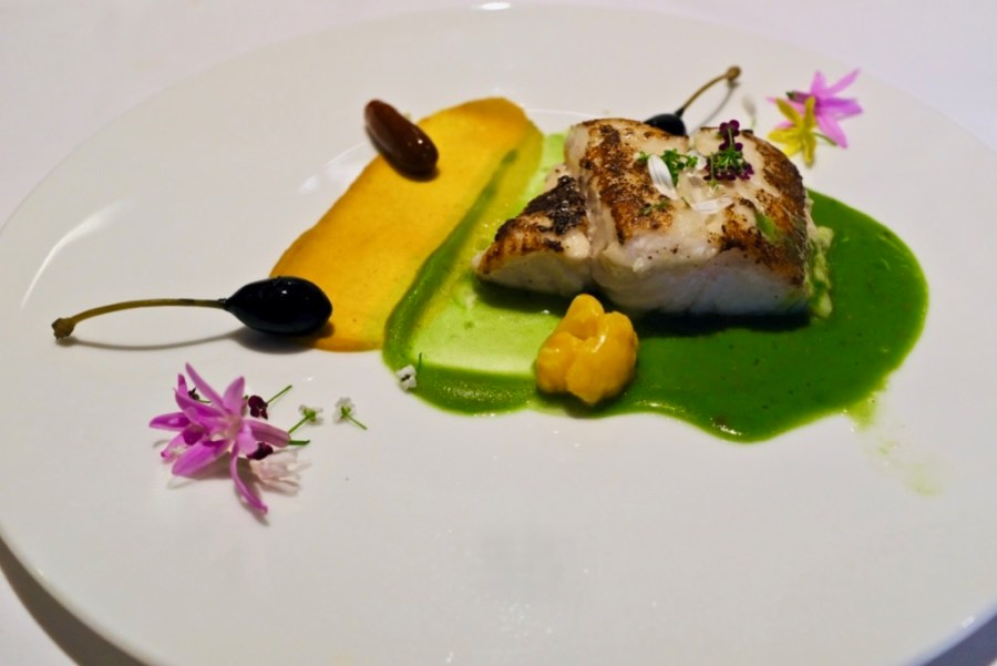 Arzak - Hake with chickpea paints, spinach, turmeric, pickled vegetables